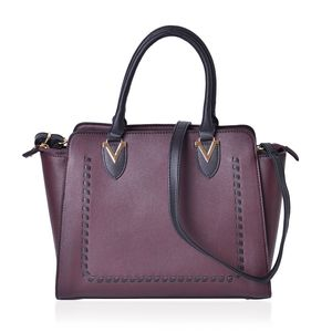 Plum and Black Faux Leather Stitched Pattern Handbag (14x5x11 in) with Standing Studs and Removable Strap (42 in)