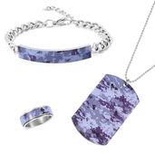FOR HIM Stainless Steel Bracelet (8 in), Ring (Size 12) and Pendant With Chain (12.00 In)