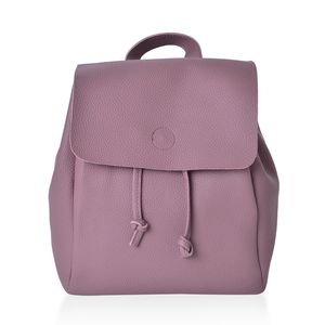 Mauve Faux Leather Backpack with Drawstring (11x6x14 in)