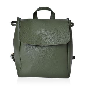 Green Faux Leather Backpack with Shoulder Strap & Zipper Pocket (9.4x6 in)