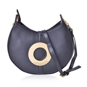 Black Faux Leather Clutch or Crossbody Saddle Bag with Removable Toggle Clasp Belt Inspired Strap (9x2x9 in)
