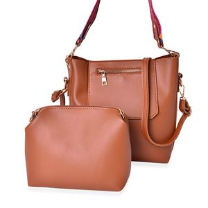 Cognac Faux Leather Saddle Bag (8x3x10 in) and Matching Pouch with 2 Removable Shoulder Straps (8.5x2x6 in)