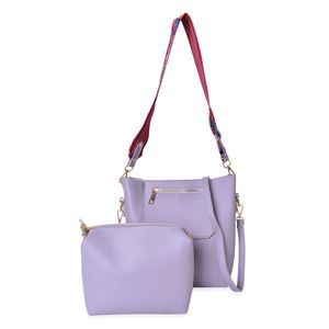 Lilac Faux Leather Saddle Bag (8x3x10 in) and Matching Pouch with 2 Removable Shoulder Straps (8.5x2x6 in)
