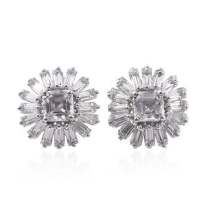 Asscher Cut White Topaz Platinum Over Sterling Silver Earrings TGW 6.39 cts.