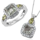 Asscher Cut Green Amethyst, Hebei Peridot, Cambodian Zircon Platinum Over Sterling Silver Ring (Size 5) and Pendant With Chain (20 in) TGW 5.90 cts.