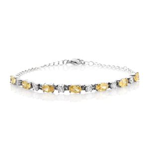Simulated Yellow Diamond, Simulated Diamond Stainless Steel Line Bracelet (7.50 In) TGW 5.94 cts.