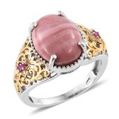 Australian Pink Opal, Ruby 14K YG and Platinum Over Sterling Silver Ring (Size 10.0) TGW 6.32 cts.