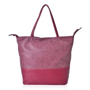 Burgundy Faux Leather Leisure Style Tote Bag (16x4x15 in)