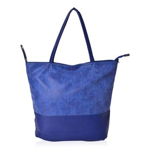 Navy Faux Leather Leisure Style Tote Bag (17.4x12.6x14.1 in)