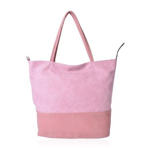 Pink and Salmon Faux Leather Leisure Style Tote Bag (16x4x15 in)
