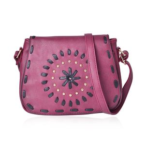 Santa Fe Style Burgundy Faux Leather Studded Crossbody Bag (10x4x8)