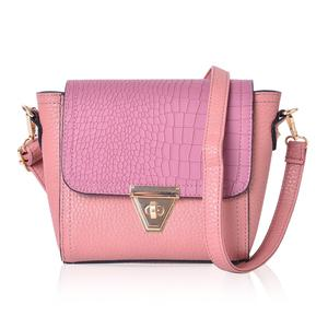 Pink Faux Leather Crossbody Bag with Adjustable Shoulder Strap (9.4x7.1x7 in)