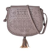 Grey Laser Cut Faux Leather Crossbody Bag (8.4x2.6x7.1 in)