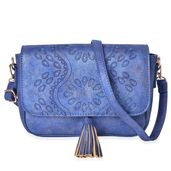 Blue Embossed Flower Pattern Faux Leather Crossbody Bag (10.2x2.4x6 in)