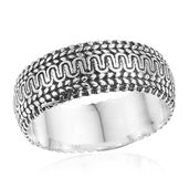 Artisan Crafted Sterling Silver Engraved Band Ring (Size 7.0)