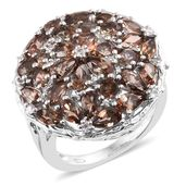 Jenipapo Andalusite, Cambodian Zircon Platinum Over Sterling Silver Ring (Size 8.0) TGW 5.74 cts.