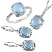 Doorbuster Sky Blue Topaz Platinum Over Sterling Silver Lever Back Earrings, Ring (Size 7) and Pendant With Stainless Steel Chain (20 in) TGW 13.22 cts.