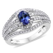 Premium AAA Tanzanite, Cambodian Zircon Platinum Over Sterling Silver Openwork Ring (Size 8.0) TGW 2.25 cts.