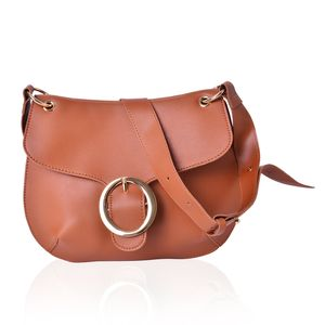 Camel Faux Leather Crossbody Saddle Bag (11x8 in)