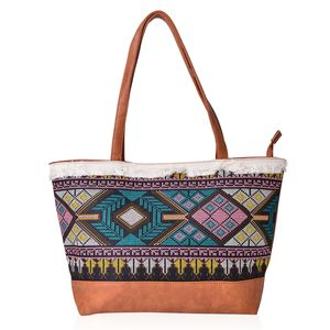 Camel Faux Leather Santa Fe Embroidered Tote with Fringes (17.5x6.5x10.5 in)
