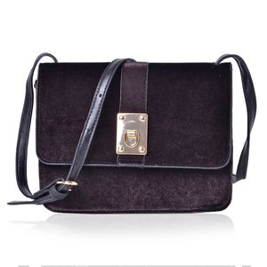 Black Velvet and Faux Leather Flap Over Crossbody Bag (9x2x6.5 in)
