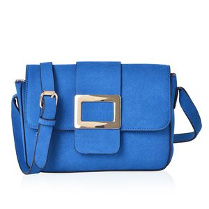 Blue Faux Leather Fold Over Buckle Sling Bag (9.5x2.5x7 in)