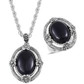 One Day TLV Black Onyx Black Oxidized Stainless Steel Ring (Size 5) and Pendant With Chain (20 in) TGW 15.00 cts.