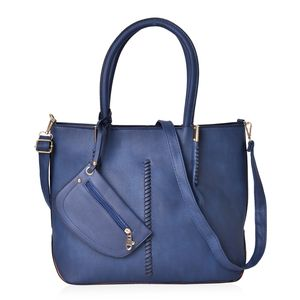Prussian Blue Faux Leather Tote (17x6.5x12 in) with Removable Wristlet Coin Pouch (7x4.5) and Shoulder Strap (52 in)