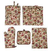 Multi Color Owl Pattern 65% Cotton and 35% Polyester Kitchen Set in a Bag (Apron, Glove, Pot Holder and Kitchen Towel)
