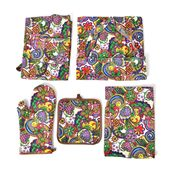 Paisley Print 65% Cotton and 35% Polyester Kitchen Set- Apron, Kitchen Towel, Pot Holder and Oven Mitt with Matching Bag
