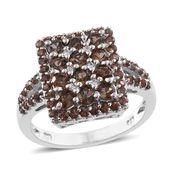 Jenipapo Andalusite, Cambodian Zircon Platinum Over Sterling Silver Ring (Size 9.0) TGW 2.42 cts.