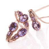 Rose De France Amethyst 14K RG Over Sterling Silver Earrings, Ring (Size 8) and Pendant With Chain (20 in) TGW 7.70 cts.
