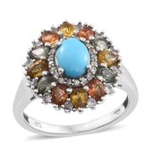 Arizona Sleeping Beauty Turquoise, Multi Gemstone Platinum Over Sterling Silver Ring (Size 9.0) TGW 3.75 cts.