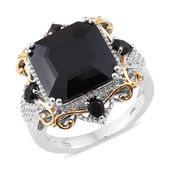 Asscher Cut Thai Black Spinel 14K YG and Platinum Over Sterling Silver Cocktail Ring (Size 10.0) TGW 16.30 cts.