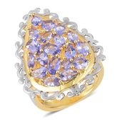 Tanzanite 14K YG Over Sterling Silver Cluster Ring (Size 10.0) TGW 3.31 cts.