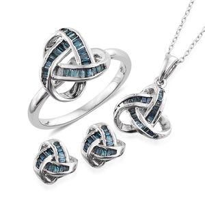Blue Diamond (IR) Platinum Over Sterling Silver Knotted Earrings, Ring (Size 8) and Pendant With Chain (20 in) TDiaWt 1.00 cts, TGW 1.00 cts.