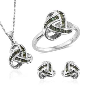 Green Diamond (IR) Platinum Over Sterling Silver Knotted Earrings, Ring (Size 5) and Pendant With Chain (20 in) TDiaWt 1.00 cts, TGW 1.00 cts.