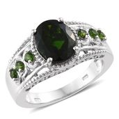 Russian Diopside Platinum Over Sterling Silver Ring (Size 9.0) TGW 3.90 cts.