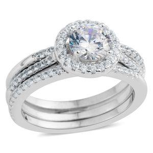 Simulated Diamond Silvertone Set of 3 Ring (Size 7.50) TGW 2.21 cts.