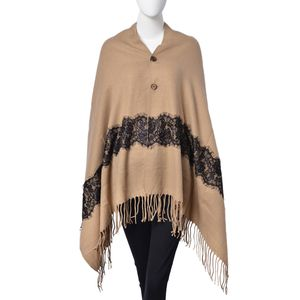 Khaki and Black Lace 100% Acrylic Shawl with Tassels (28.35x78.74 in)