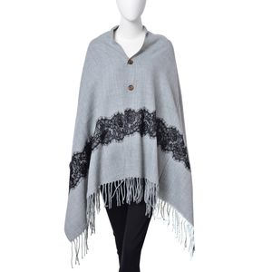 Gray 100% Acrylic Button Shawl or Scarf with Black Embroidered Lace and Fringes (68x28 in)