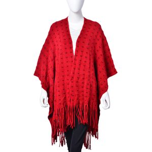 Dark and Light Red 100% Acrylic Square Pattern Fringe  Rauna with Tassels (One Size)
