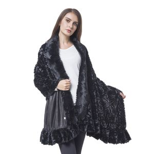 Black Rose Pattern 100% Polyester Velvet Faux Fur Wrap(70x29 in)