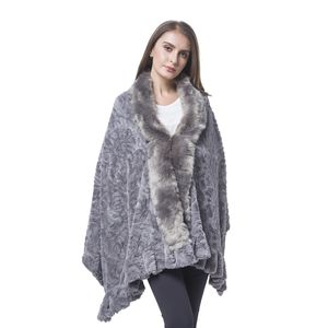 Gray Rose Pattern 100% Polyester Velvet Faux Fur Wrap(70x29 in)