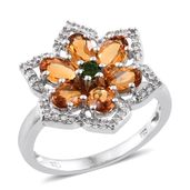 Serra Gaucha Citrine, Russian Diopside, Cambodian Zircon Platinum Over Sterling Silver Ring (Size 9.0) TGW 3.14 cts.