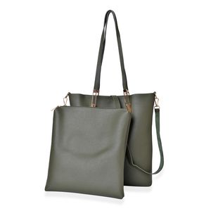 Olive Faux Leather Set of 2 Handbag with Magnetic Clasp and Nylon Zipper Closure (13x11x2.4, 10.4x1.4x11.6 in)