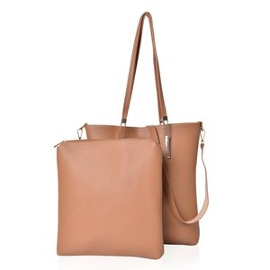 Camel Faux Leather Tote with Magnetic Clasp (11x2.5x13 in) and Mathching Elongated Pouch (11x1.5x11 in) with Removable Strap