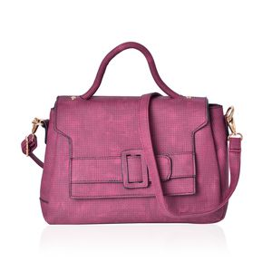 Burgundy Faux Leather Satchel Bag (11.2x4.4x8.4 in)
