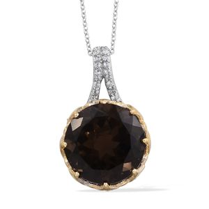 Brazilian Smoky Quartz, Cambodian Zircon 14K YG and Platinum Over Sterling Silver Statement Pendant With Chain (20 in) TGW 13.33 cts.