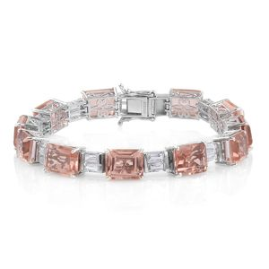 Doorbuster Morganique Quartz, White Topaz Platinum Over Sterling Silver Statement Bracelet (7.50 In) TGW 47.41 cts.
